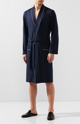 Мужской халат DEREK ROSE темно-синего цвета, арт. 5715-BASE001 | Фото 2