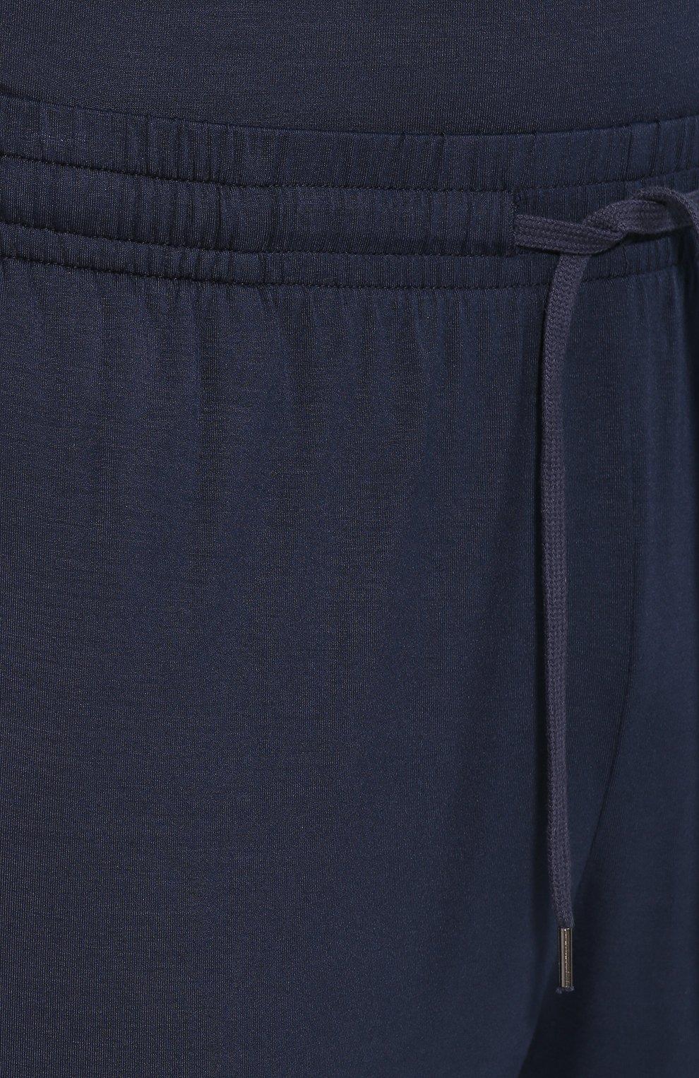 Мужские домашние джоггеры DEREK ROSE темно-синего цвета, арт. 9403-BASE001   Фото 5 (Кросс-КТ: домашняя одежда; Мужское Кросс-КТ: Брюки-белье; Материал внешний: Синтетический материал)