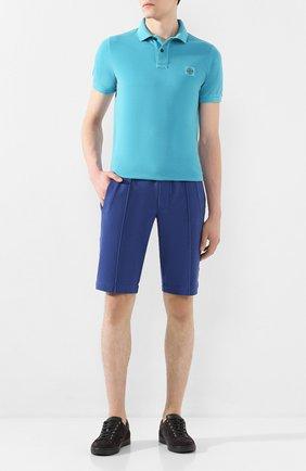 Мужское хлопковое поло STONE ISLAND голубого цвета, арт. 721522S67 | Фото 2