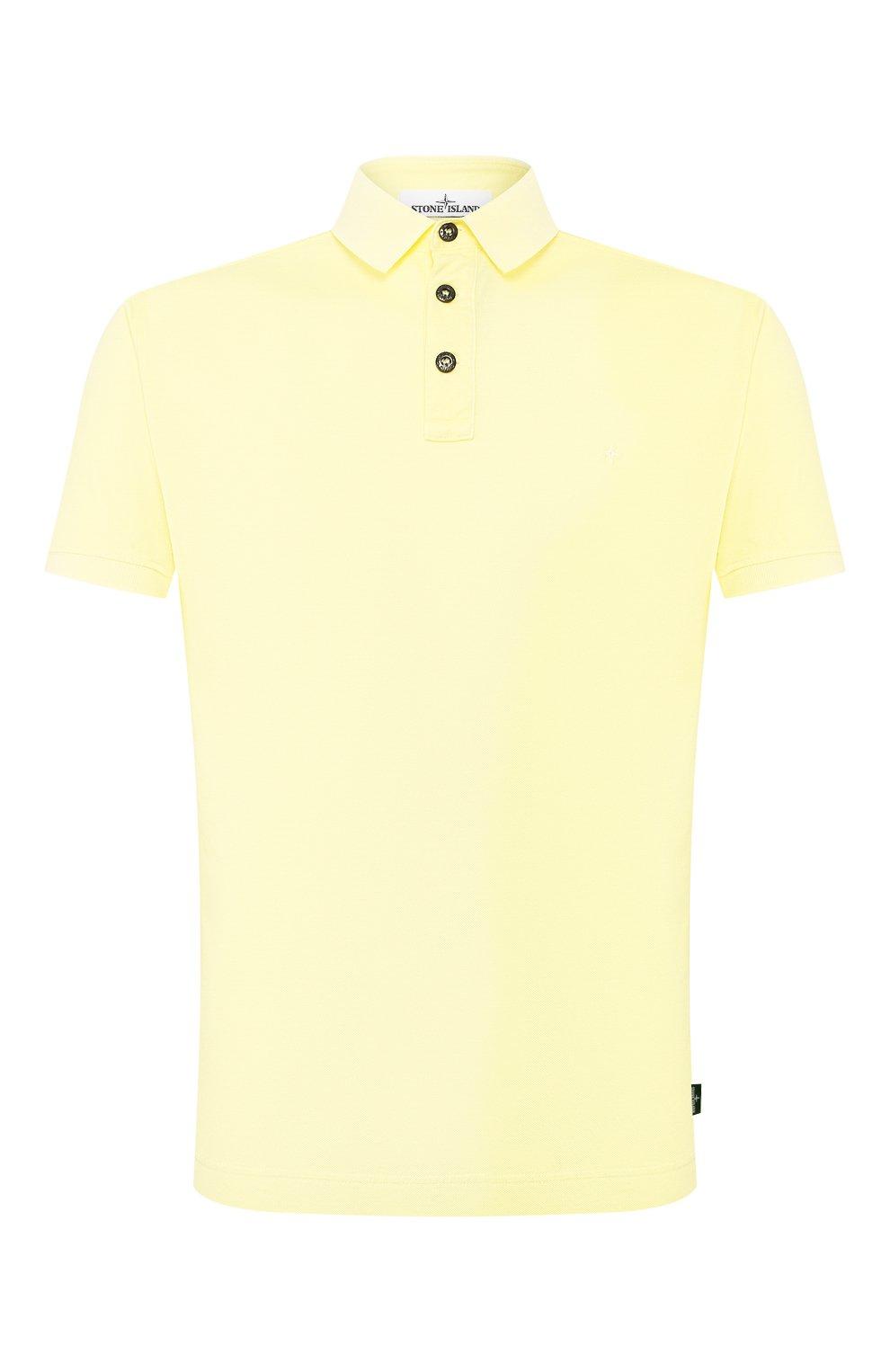 Мужское хлопковое поло STONE ISLAND желтого цвета, арт. 721524212 | Фото 1