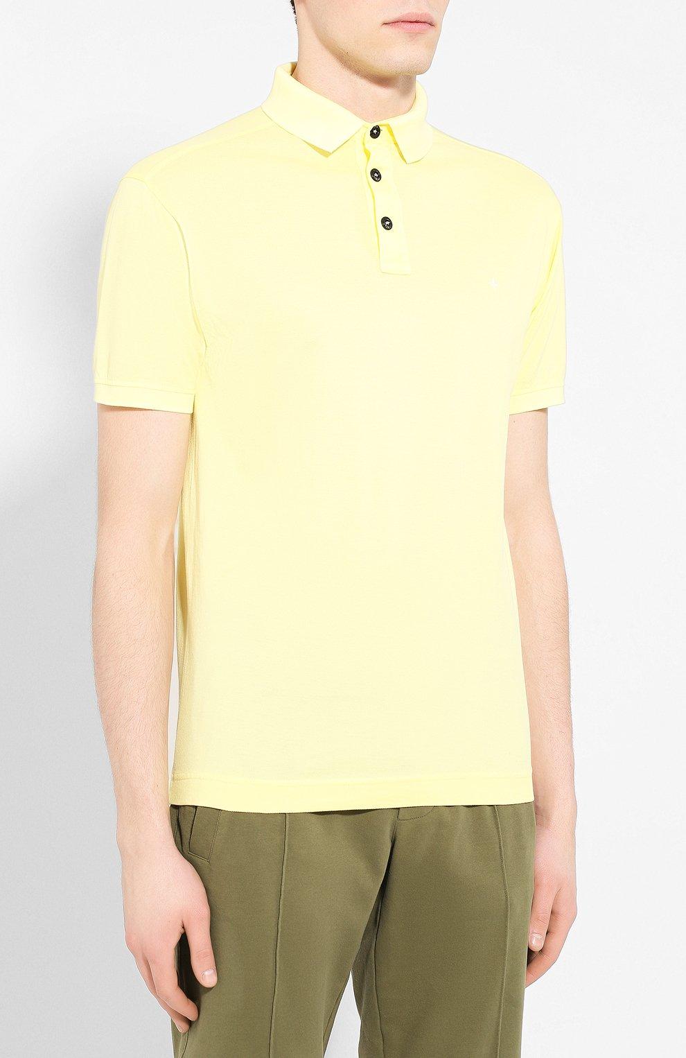 Мужское хлопковое поло STONE ISLAND желтого цвета, арт. 721524212 | Фото 3