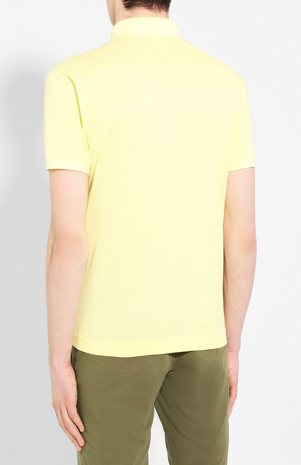 Мужское хлопковое поло STONE ISLAND желтого цвета, арт. 721524212 | Фото 4