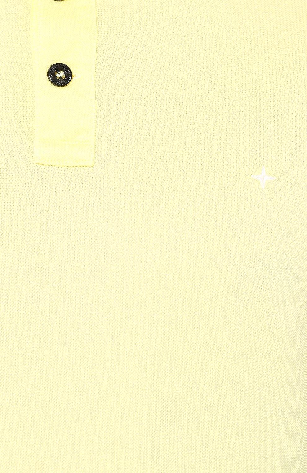 Мужское хлопковое поло STONE ISLAND желтого цвета, арт. 721524212 | Фото 5