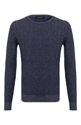 Мужской свитер из смеси кашемира и хлопка ERMENEGILDO ZEGNA синего цвета, арт. UUQ95/110 | Фото 1