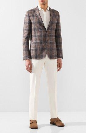 Мужская льняная рубашка ERMENEGILDO ZEGNA белого цвета, арт. UUX38/SRF5 | Фото 2