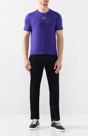 Мужская хлопковая футболка PAUL&SHARK фиолетового цвета, арт. E20P1034 | Фото 2