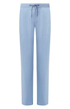 Мужской брюки из смеси шерсти и льна BRIONI голубого цвета, арт. RPMJ0L/P9AB9/NEW JAMAICA | Фото 1
