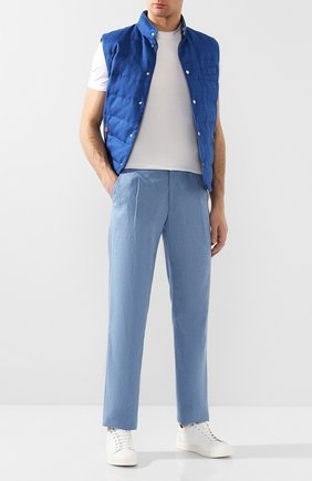 Мужской брюки из смеси шерсти и льна BRIONI голубого цвета, арт. RPMJ0L/P9AB9/NEW JAMAICA | Фото 2