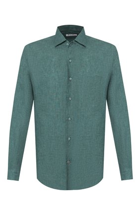 Мужская льняная рубашка LORO PIANA зеленого цвета, арт. FAF2545 | Фото 1