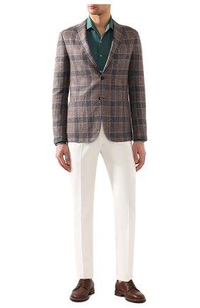 Мужская льняная рубашка LORO PIANA зеленого цвета, арт. FAF2545 | Фото 2