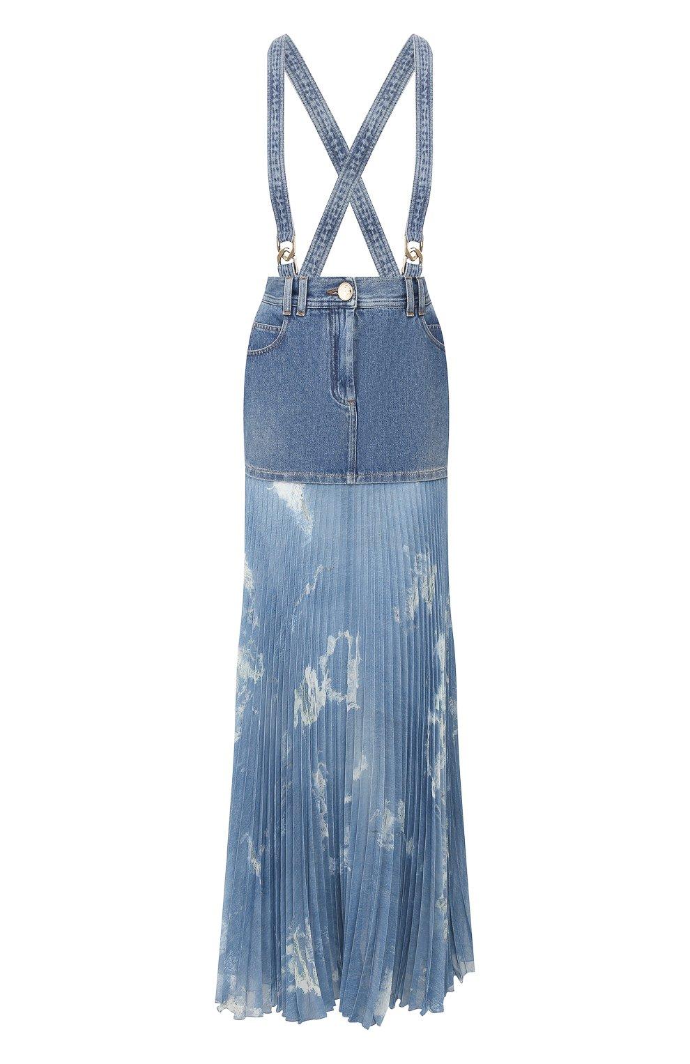 Женская джинсовая юбка BALMAIN голубого цвета, арт. TF14708/D018 | Фото 1