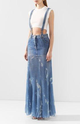 Женская джинсовая юбка BALMAIN голубого цвета, арт. TF14708/D018 | Фото 3