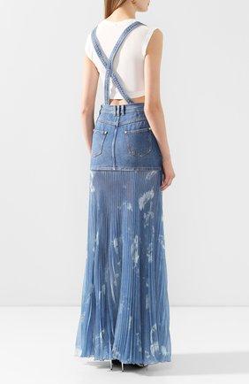 Женская джинсовая юбка BALMAIN голубого цвета, арт. TF14708/D018 | Фото 4