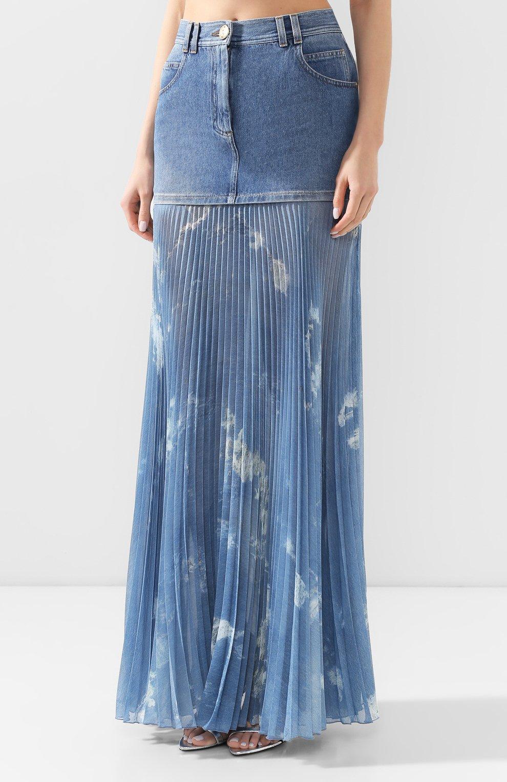 Женская джинсовая юбка BALMAIN голубого цвета, арт. TF14708/D018 | Фото 6