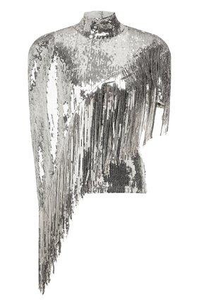Женская топ с пайетками BALMAIN серебряного цвета, арт. TF10830/X347 | Фото 1