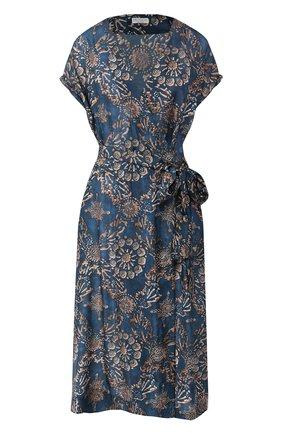 Женское шелковое платье BRUNELLO CUCINELLI бирюзового цвета, арт. MH973AHE31 | Фото 1