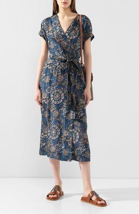 Женское шелковое платье BRUNELLO CUCINELLI бирюзового цвета, арт. MH973AHE31 | Фото 2