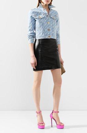 Женская джинсовая куртка VERSACE голубого цвета, арт. A85458/A233032 | Фото 2