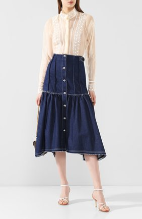 Женская шелковая блузка CHLOÉ бежевого цвета, арт. CHC20SHT03022 | Фото 2