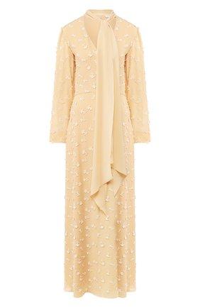 Женское шелковое платье CHLOÉ бежевого цвета, арт. CHC20SR051484 | Фото 1