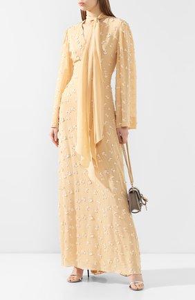 Женское шелковое платье CHLOÉ бежевого цвета, арт. CHC20SR051484 | Фото 2