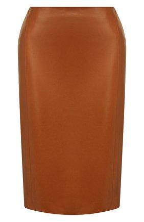 Женская кожаная юбка RALPH LAUREN темно-коричневого цвета, арт. 290803709 | Фото 1