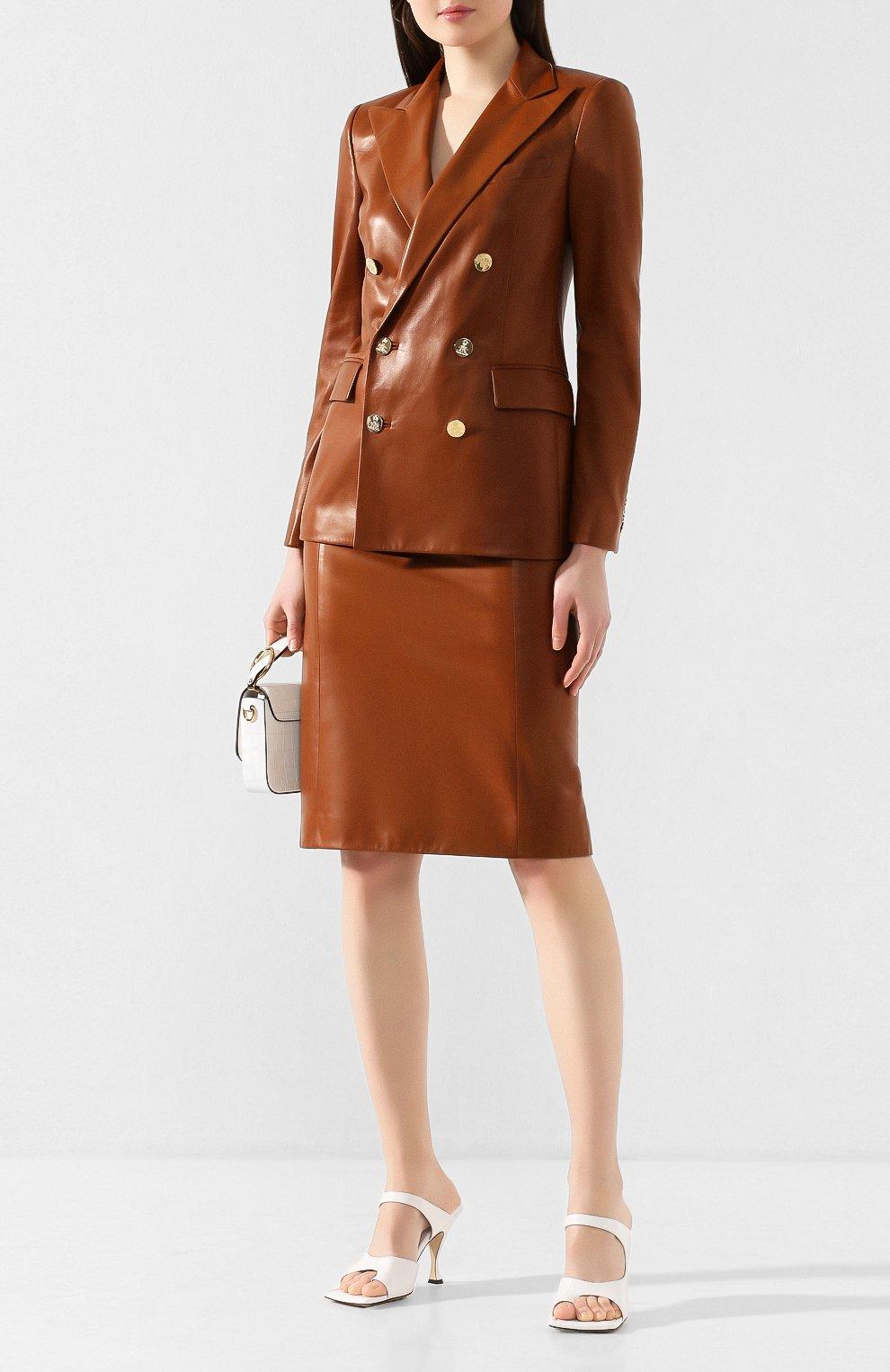 Женская кожаная юбка RALPH LAUREN темно-коричневого цвета, арт. 290803709 | Фото 2