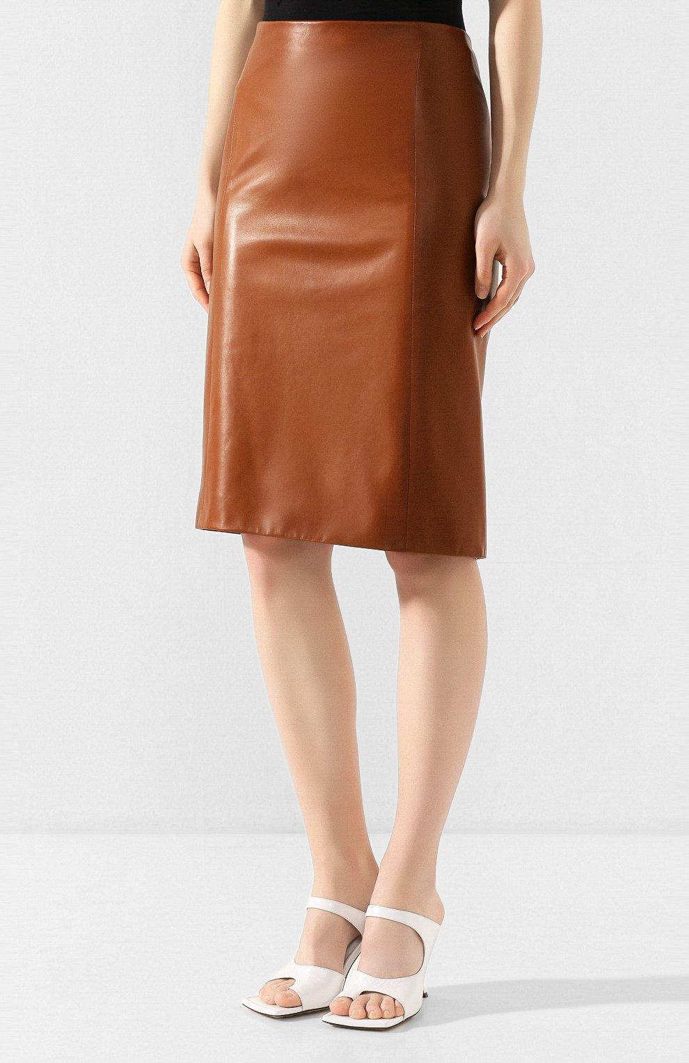 Женская кожаная юбка RALPH LAUREN темно-коричневого цвета, арт. 290803709 | Фото 3