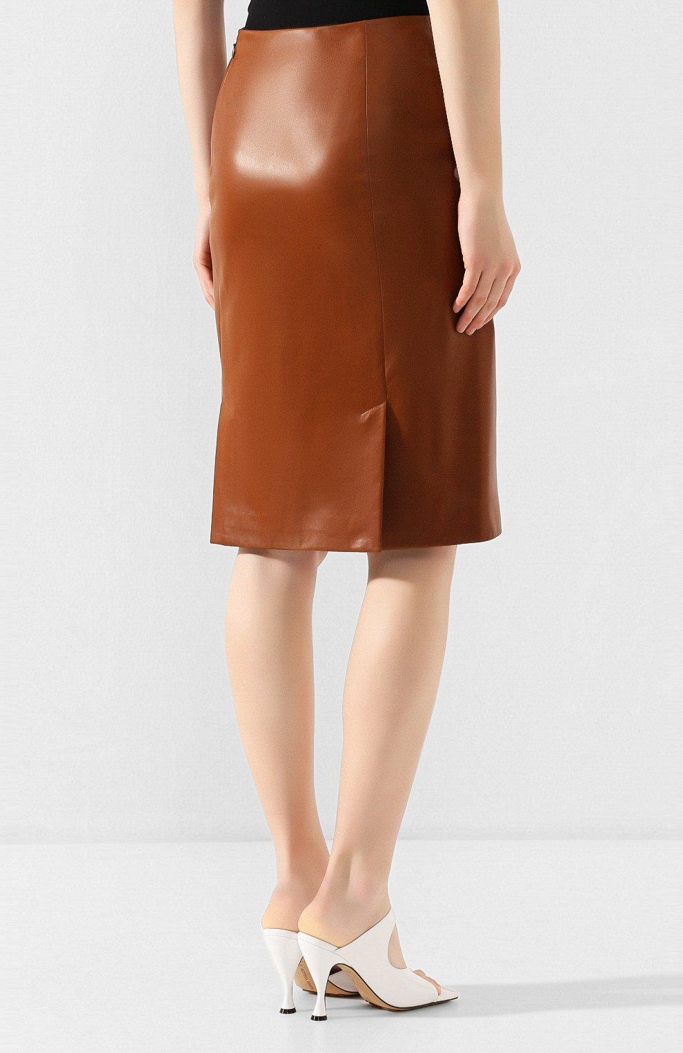 Женская кожаная юбка RALPH LAUREN темно-коричневого цвета, арт. 290803709 | Фото 4