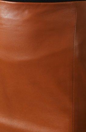 Женская кожаная юбка RALPH LAUREN темно-коричневого цвета, арт. 290803709 | Фото 5