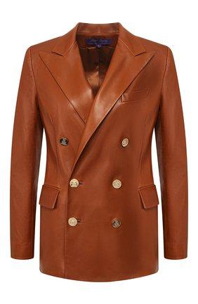 Женский кожаный жакет RALPH LAUREN темно-коричневого цвета, арт. 290803707 | Фото 1