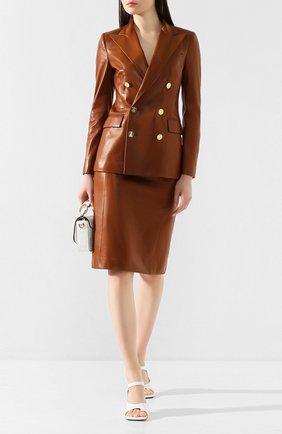 Женский кожаный жакет RALPH LAUREN темно-коричневого цвета, арт. 290803707 | Фото 2