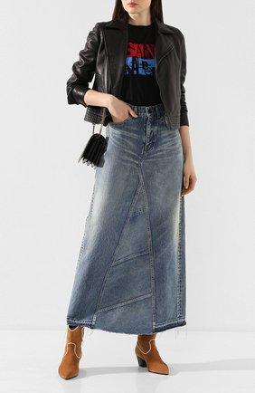 Женская джинсовая юбка SAINT LAURENT синего цвета, арт. 593677/Y551V | Фото 2