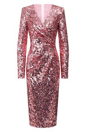 Женское платье с пайетками DOLCE & GABBANA розового цвета, арт. F6H0TT/HLMZM | Фото 1