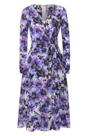 Женское шелковое платье DOLCE & GABBANA фиолетового цвета, арт. F6I0VT/IS1A1 | Фото 1