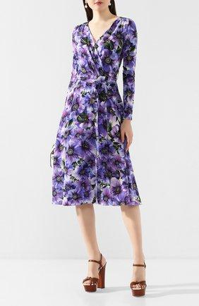 Женское шелковое платье DOLCE & GABBANA фиолетового цвета, арт. F6I0VT/IS1A1 | Фото 2