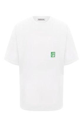 Женская хлопковая футболка BALENCIAGA белого цвета, арт. 594599/THV63 | Фото 1