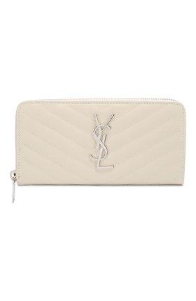 Женские кожаный кошелек monogram SAINT LAURENT белого цвета, арт. 358094/B0W02 | Фото 1