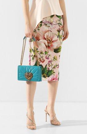 Женская сумка devotion small DOLCE & GABBANA бирюзового цвета, арт. BB6652/AV967   Фото 2 (Сумки-технические: Сумки через плечо; Материал: Натуральная кожа; Размер: small; Ремень/цепочка: На ремешке; Женское Кросс-КТ: Вечерняя сумка)