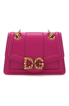 Женская сумка dg amore small DOLCE & GABBANA фуксия цвета, арт. BB6676/AK295   Фото 1 (Сумки-технические: Сумки через плечо; Материал: Натуральная кожа; Размер: small; Ремень/цепочка: На ремешке; Женское Кросс-КТ: Вечерняя сумка)