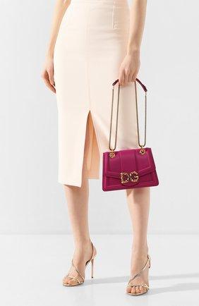 Женская сумка dg amore small DOLCE & GABBANA фуксия цвета, арт. BB6676/AK295   Фото 2 (Сумки-технические: Сумки через плечо; Материал: Натуральная кожа; Размер: small; Ремень/цепочка: На ремешке; Женское Кросс-КТ: Вечерняя сумка)