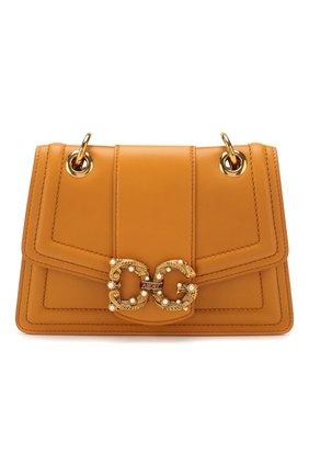 Женская сумка dg amore small DOLCE & GABBANA желтого цвета, арт. BB6676/AK295   Фото 1 (Сумки-технические: Сумки через плечо; Материал: Натуральная кожа; Размер: small; Ремень/цепочка: На ремешке; Женское Кросс-КТ: Вечерняя сумка)