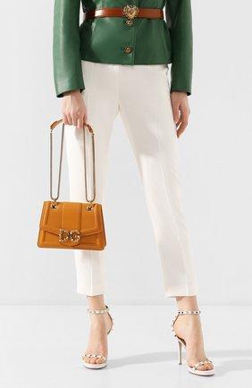 Женская сумка dg amore small DOLCE & GABBANA желтого цвета, арт. BB6676/AK295   Фото 2 (Сумки-технические: Сумки через плечо; Материал: Натуральная кожа; Размер: small; Ремень/цепочка: На ремешке; Женское Кросс-КТ: Вечерняя сумка)