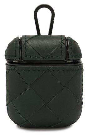 Мужской кожаный чехол для airpods BOTTEGA VENETA зеленого цвета, арт. 610263/VCPQ0 | Фото 1