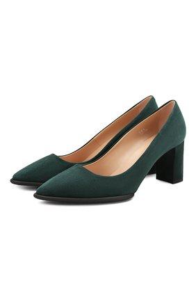 Женская замшевые туфли TOD'S темно-зеленого цвета, арт. XXW30A0S330HR0 | Фото 1