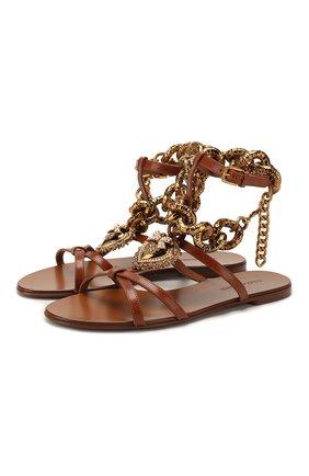 Женские кожаные сандалии devotion DOLCE & GABBANA коричневого цвета, арт. CQ0346/AX059   Фото 1