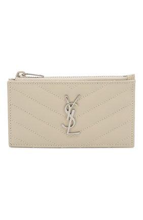 Женский кожаный футляр для кредитных карт SAINT LAURENT белого цвета, арт. 607915/B0W02 | Фото 1