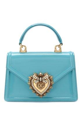 Женская сумка devotion small DOLCE & GABBANA голубого цвета, арт. BB6711/A1037   Фото 1 (Материал: Натуральная кожа; Размер: small; Ремень/цепочка: На ремешке; Сумки-технические: Сумки top-handle, Сумки через плечо; Женское Кросс-КТ: Вечерняя сумка)