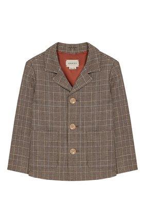 Детский пиджак из шерсти и льна GUCCI бежевого цвета, арт. 591406/XWAGI | Фото 1