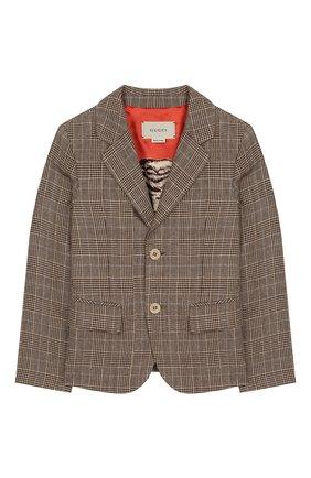 Детский пиджак из шерсти и льна GUCCI бежевого цвета, арт. 599473/XWAGI | Фото 1